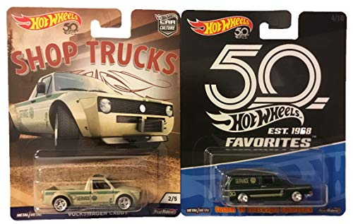 Hot Wheels Real Riders Volkswagen Service 2 Pack Bundle with Shop Trucks Caddy Pick-up 2/5 and 50th Anniversary Favorites Custom '69 Squareback 4/10