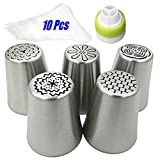 Russian Piping Cake Nozzles Stainless Steel Tips Set (Pack of 16): 5 Icing ...