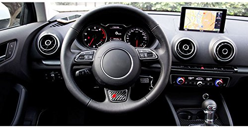 AUTO-P for Audi A4 B6 B8 B7 B5 A3 8P 8L 8V A6 C5 C7 A5 Q3 A1 S3 S4 S line Quattro RS7 Car Steering Wheel Decoration Sticker Carbon Fiber