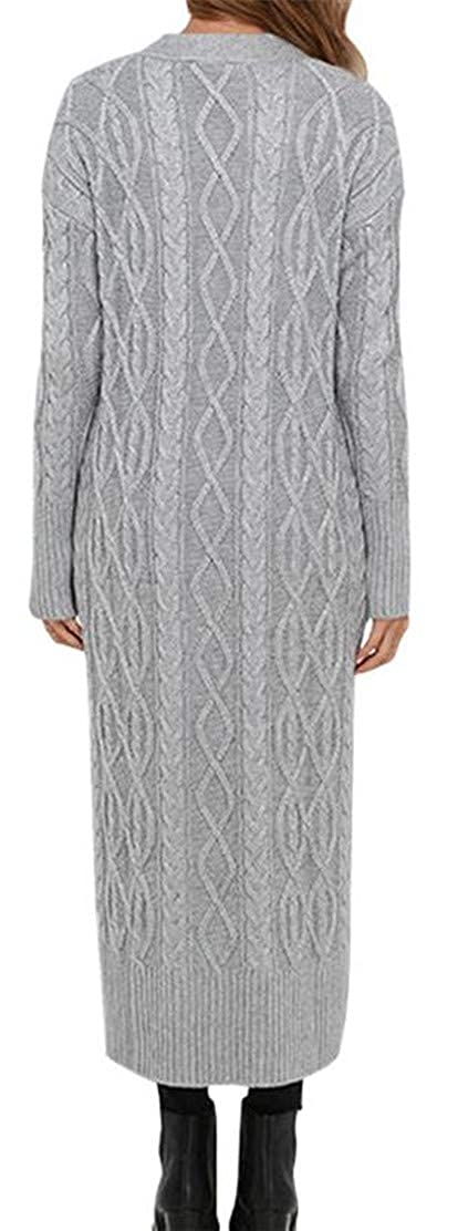 Etecredpow Womens Solid Button Pocket Knitted Woven Midi Coat Cardigan