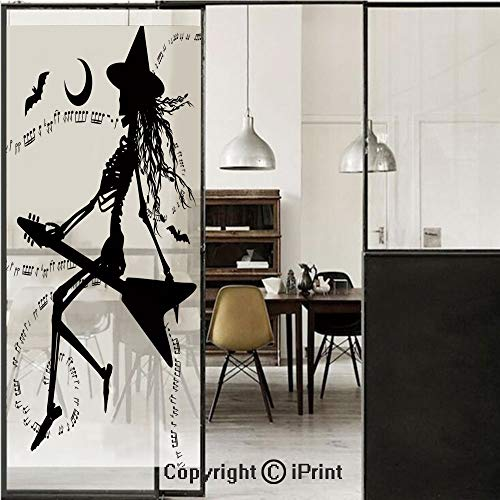 Music 3D Decorative Film Privacy Window Film No Glue,Frosted Film Decorative,Witch Flying on Electric Guitar Notes Bat Magical Halloween Artistic Illustration,for Home&Office,17.7x70.8Inch Black White