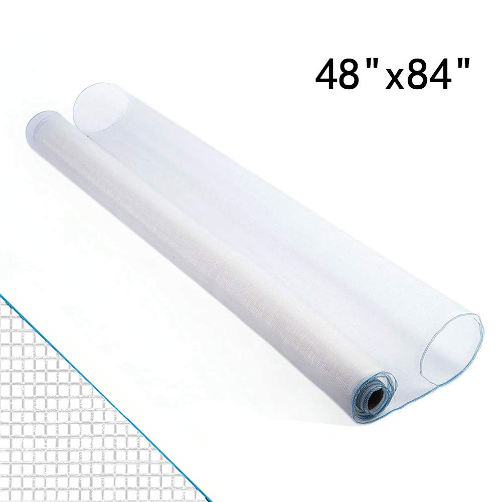 Shatex Roll Window Screen Mesh, DIY Nylon Screen Replacement Mesh Fabric, Anti-Mosquito/Insect Barrier, 48''x84'', White
