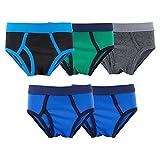 MAMABIBI Boys Briefs Toddler Underwear Comfortable Soft Cotton 5-Pack Black/Green/Charcoal/Blue XS-4-5 YRS