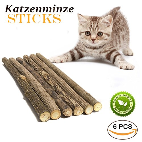 RIO Direct Cat Catnip Stick Natural Matatabi Chew Sticks Dental Care Teeth Grinding Chew Toys for Cat Kitten Puppy Kitty