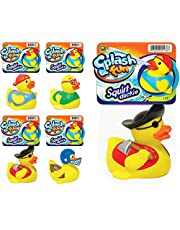 """Water Squirt Rubber Ducks Fun (4 Units Assorted) Toddlers Kids Baby Bath Tub Toy Pool Toy 3"""" Rubber Duckies Fidget Toy for Kids, Sensory Play, Stress Relief, Stocking Stuffers Supply in Bulk. 1178-4"""