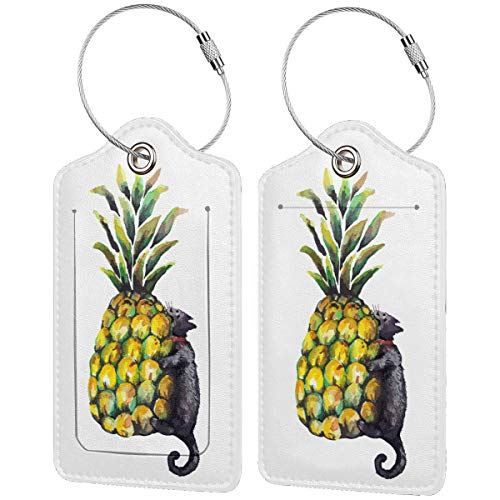 Pineapple Cat Leather Travel Bag Tags Luggage ID Tags Carry-On Cards Set Of 1.2.4.Pcs
