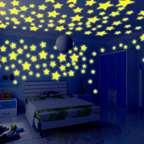 DEESEE(TM) New;Luminous Wall Stickers100PC Kids Bedroom Fluorescent Glow In The Dark Stars Wall Stickers (Yellow)