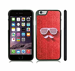 iStar Cases? iPhone 6 Case with Mustache and Shutters Design on Grunge Red , Snap-on Cover, Hard Carrying Case (Black) by icecream design