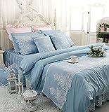 Abreeze White Ruffled Duvet Cover Sets Korean Princess Blue Bedding Girl Bedroom Sets Lace Design Twin 4PCS