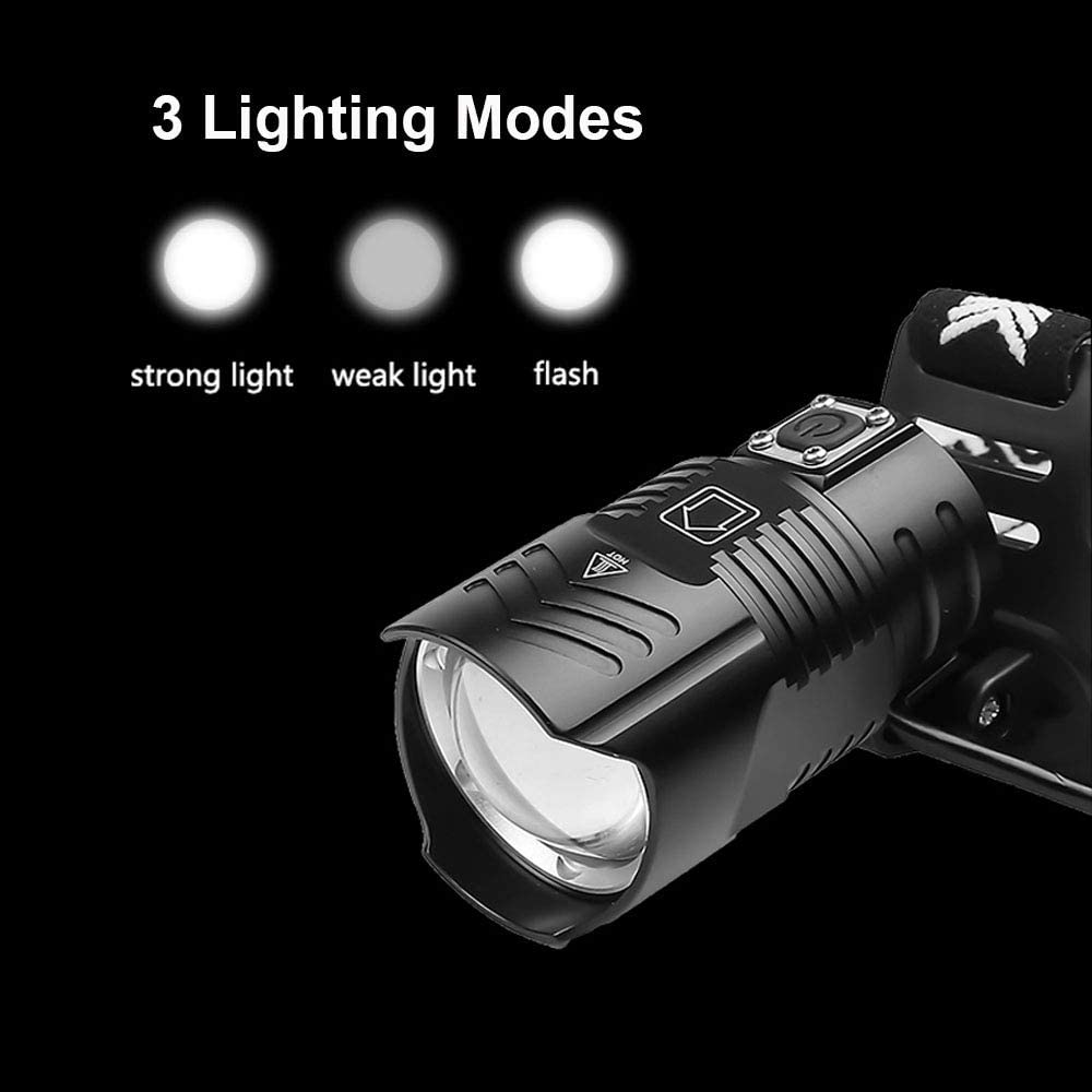 LUXNOVAQ 10000 Lumens Super Bright Head Torches Light Zoomable Waterproof Head Lamp with 3pcs Batteries /& 3 Modes for Work Camping Outdoor XHP90 LED Head Torch Rechargeable USB Powerful Headlamp