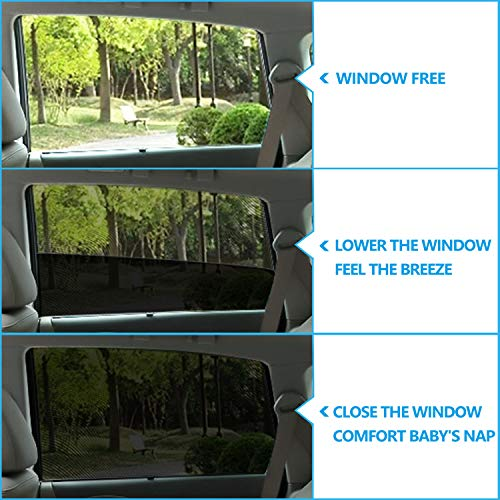 Rear Window Shade with UV Protection for Children Sunshades Accessories (2 Pack) Baby Car Blinds for Windows Samfolk Car Sun Shades for Kids