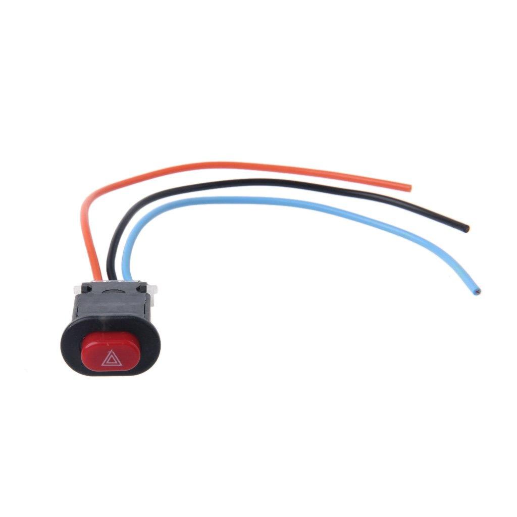 Xuniu Motocicleta Peligro Interruptor de luz Se/ñal de Emergencia Intermitente de Advertencia Doble con Bloqueo de 3 alambres