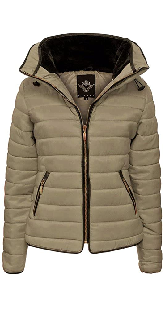 4ed810cf 66 Fashion District Womens Ladies Zara Quilted Padded Puffer Bubble Fur  Collar Warm Thick Jacket: Amazon.co.uk: Clothing