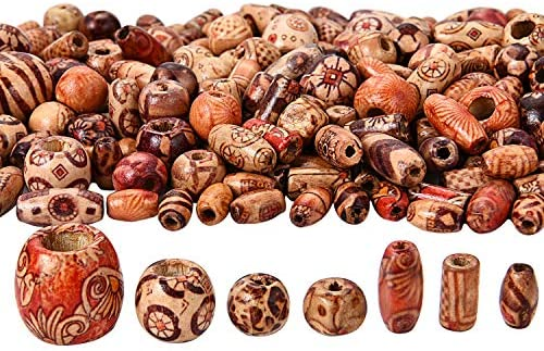 400 Pieces Printed Wooden Beads Various Shapes Loose Wood Beads For Jewelry Making Diy Bracelet Necklace Hair Crafts