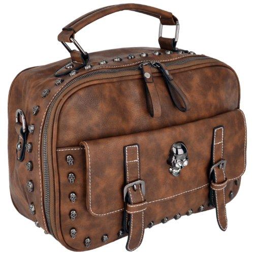 MG Collection Mason Gothic Skull Studded Top Handle Bag, Brown, One (Studded Satchel Bag)