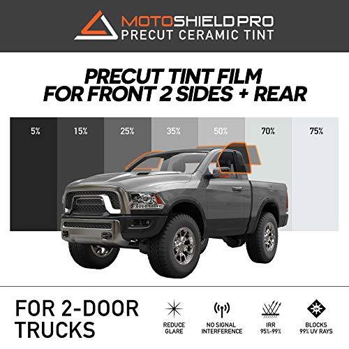 (MotoShield Pro Precut Ceramic Tint Film [Blocks Up to 99% of UV/IRR Rays] Window Tint for 2 Door Trucks - 2 Front Side Windows + Rear Only, Any Tint Shade)