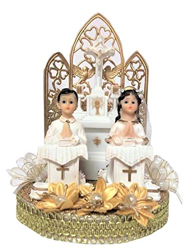 First Holy Communion Christening Praying Boy & Girl Twins On Pedestals Cake Topper ()
