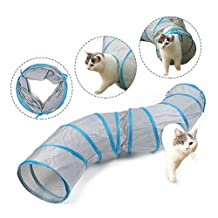 """Ohana Collapsible Cat Tunnel for Fat Cats,Rabbits,Ferrets and Dogs - 12"""" Dia Hideaway with 2 Peep Hole Keep Pet Entertained Grey"""