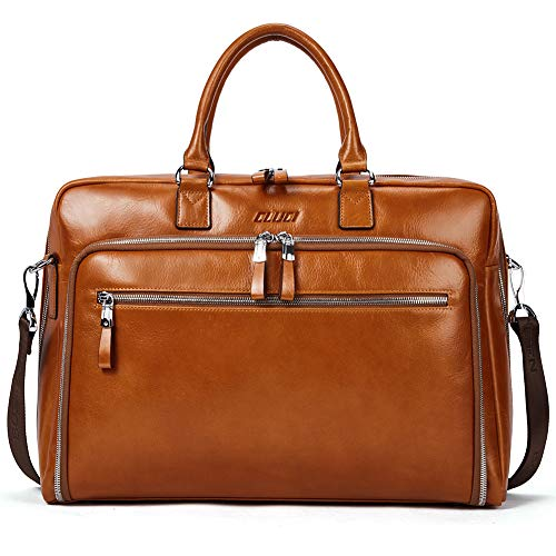 Cluci Oil Wax Genuine Leather Briefcases for Men Slim 15.6