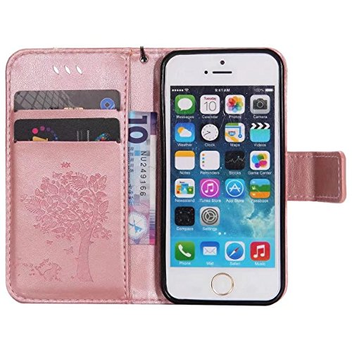 EKINHUI Case Cover Solid Color Premium PU Ledertasche Prägeart Pattern Flip Stand Case Hülle mit Karte und Bargeld Schlitze für iPhone 5 5S SE ( Color : Rosegold )