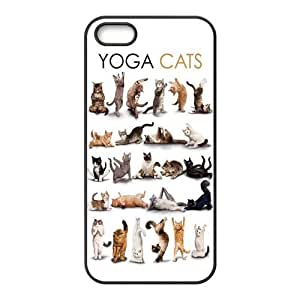 iPhone 5S Protective Case - Yoga Cats Hardshell Carrying Case Cover for iPhone 5 / 5S Designed by HnW Accessories