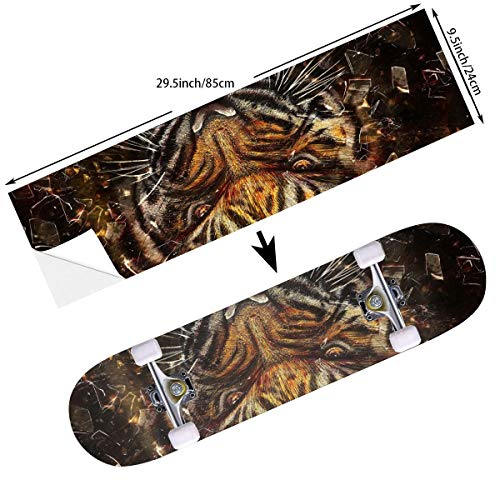 STREET FFX Fashion Funny Skateboard Cruiser Deck and Balance Board Stickers Decals Grip Tape - 9.5 x 33.5 Inches - Animal Tiger