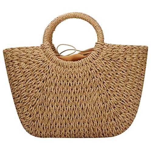 Hand-woven Straw Large Hobo Bag for Women Round Handle Ring Toto Retro Summer Beach Straw Bag (Brown)