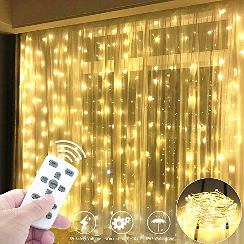 Fxexblin Curtain Lights Detachable, 300 LEDs 9.8Ft/3M LED String Fairy Lights 8 Different Modes of Remote Control Timer USB String Lights Christmas Lights for Indoor Outdoor Holiday Parties Weddings Thanksgiving