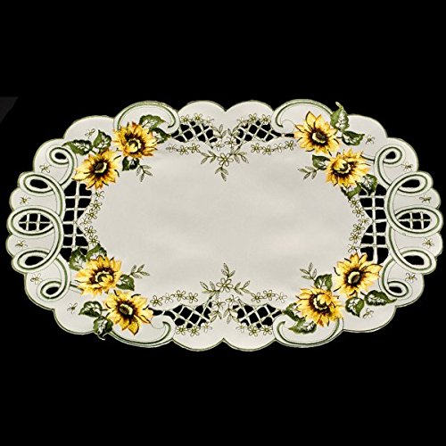 gs Embroidered Sunflower Placemat or Doily 11