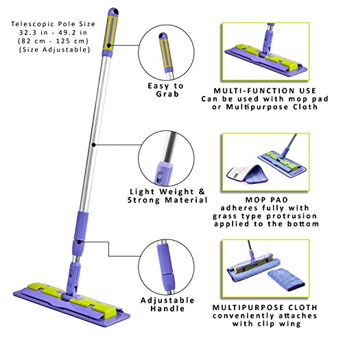 Wet Stick (Nano-Knockout Floor Mop Telescopic Extension Pole - Ultra-Microfiber - Multi-Function – Light Weight - Strong Durable Aluminum Handle - Duo-Safety Locking Device)