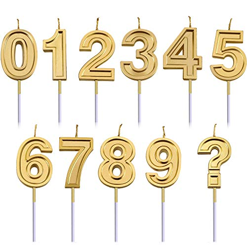 Honoson 11 Pieces Cake Numbers Birthday Candles Glitter Gold Candle Number 0-9 Candle Cake Decorations for Birthdays, Weddings