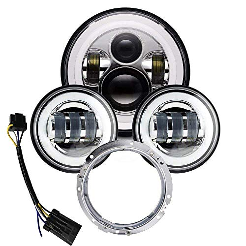 7 inch LED Headlight Halo DOT Approved 4.5 inch Fog Passing Lights Ring Kit Motorcycle Headlamp for Harley Davidson Touring Road King Ultra Classic Electra Street Glide Heritage Softail Deluxe Fatboy