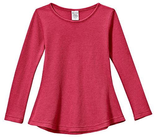 City Threads Little Girls' Thermal Long Sleeve Tunic Shirt Tee Dress for School Party Play, Candy Apple Red, (Party City Ct)
