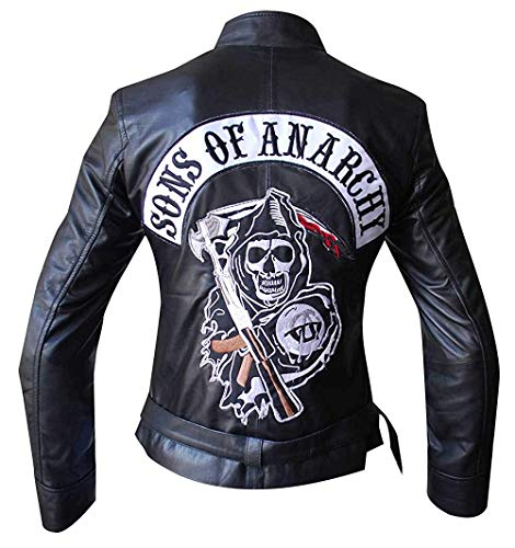New SOA Sons of Anarchy Reaper Synthetic Leather Womens Jacket Black -