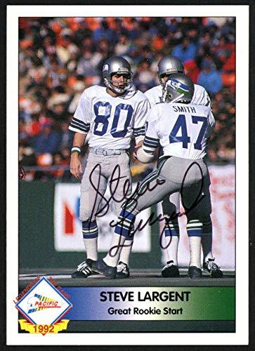 (Steve Largent Autographed 1992 Pacifc Autograph Card Seattle Seahawks #195/1000 SKU #147788 - NFL Autographed Football Cards)