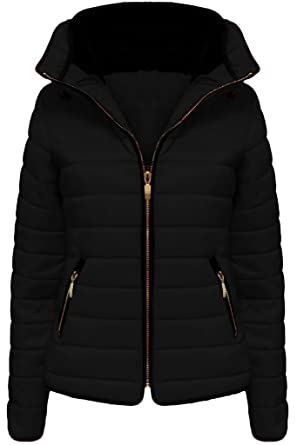 Vanilla Inc Ladies Jacket Coat New Fur Womens Collar Quilted Puffer Warm  Padded Bubble Coats Black UK Size XL 14  Amazon.co.uk  Clothing d2c8ab4193