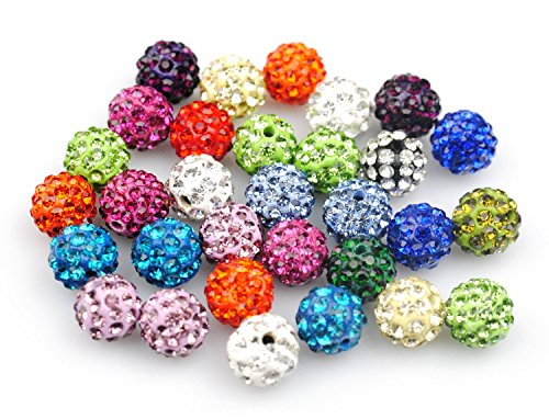 (10mm Mixed Color Clay Pave Rhinestone Crystal Shamballa Beads For DIY Jewelry Disco Decor (100))