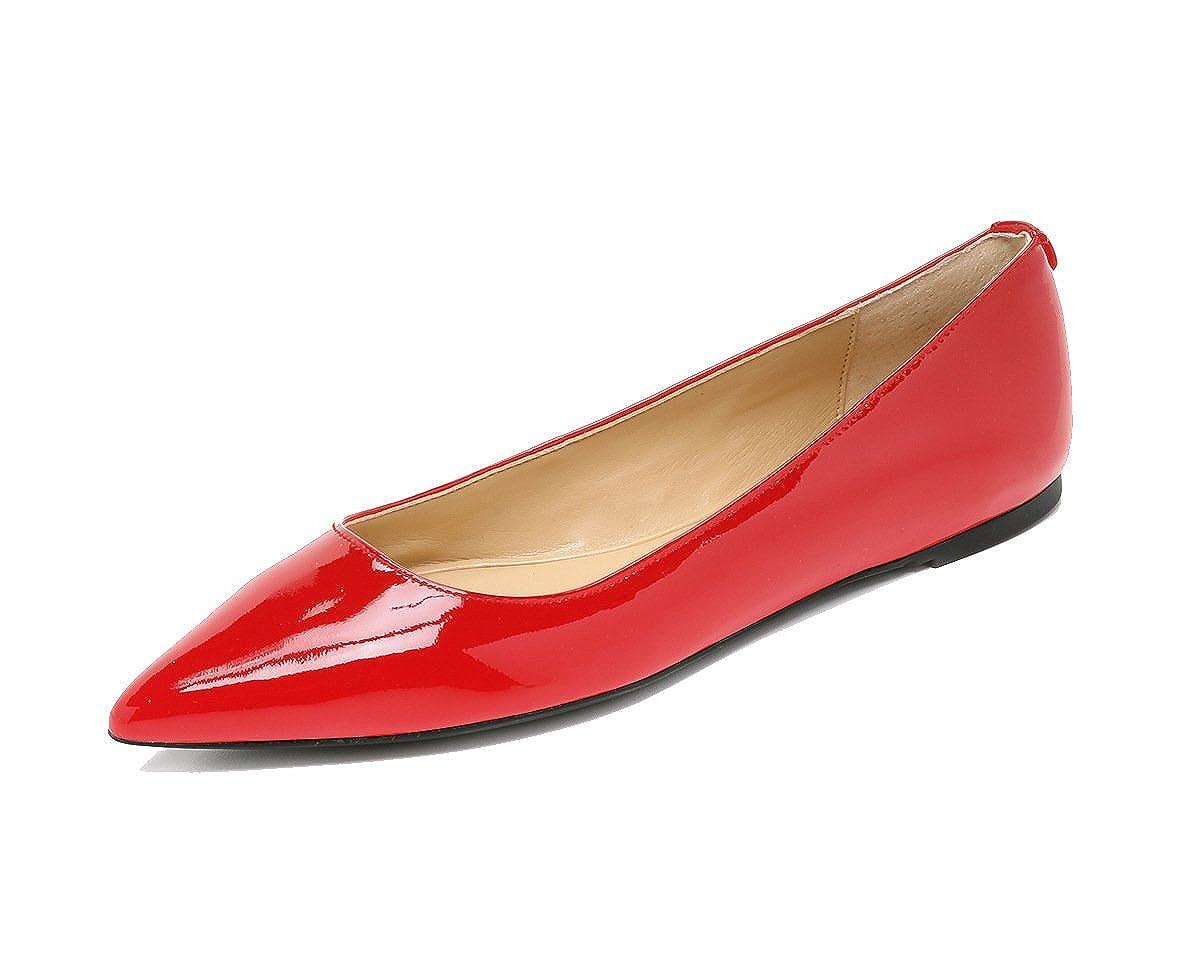 DYF Frauen Nackt Schuhe Farbe Farbe Farbe Größe Scharfe Flache Unterseite Flach Mund Rot 42 60634c