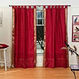 Cheap Lined-Maroon Tab Top Sheer Sari Curtain / Drape / Panel – 80W x 96L – Piece
