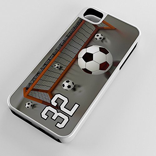 Soccer Shot Goal (iPhone Case Fits iPhone SE 5s 5 Hybrid Tough Case Soccer Shot On Goal Goalie Hands Allowed Any Custom Jersey Number 32 White Plastic Black Rubber)