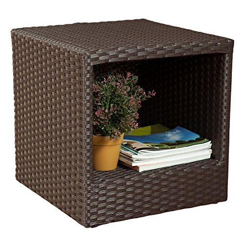 Abba Patio Outdoor Wicker Patio Square End Table Side Table with Storage, 16''W x 16''D x 16.1''H - Outdoor Rattan End Table
