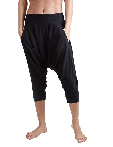 PROYOG Mujer orgánico Yoga Dhoti Pantalón - Negro -: Amazon ...
