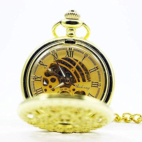 YXZQ懐中時計、スチームパンクスケルトンメカニカルゴールデンメンズアンティークネックレス