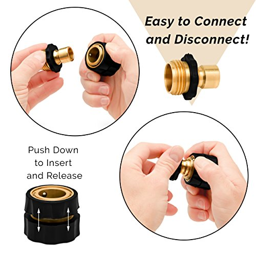 Morvat Brass Quick Hose Connector | Easily Add Attachments to Garden Hose | Great for Gardening, Washing, Sprayers, Nozzles, Sprinkler or Watering Tools | Pack of 6 by Morvat (Image #1)