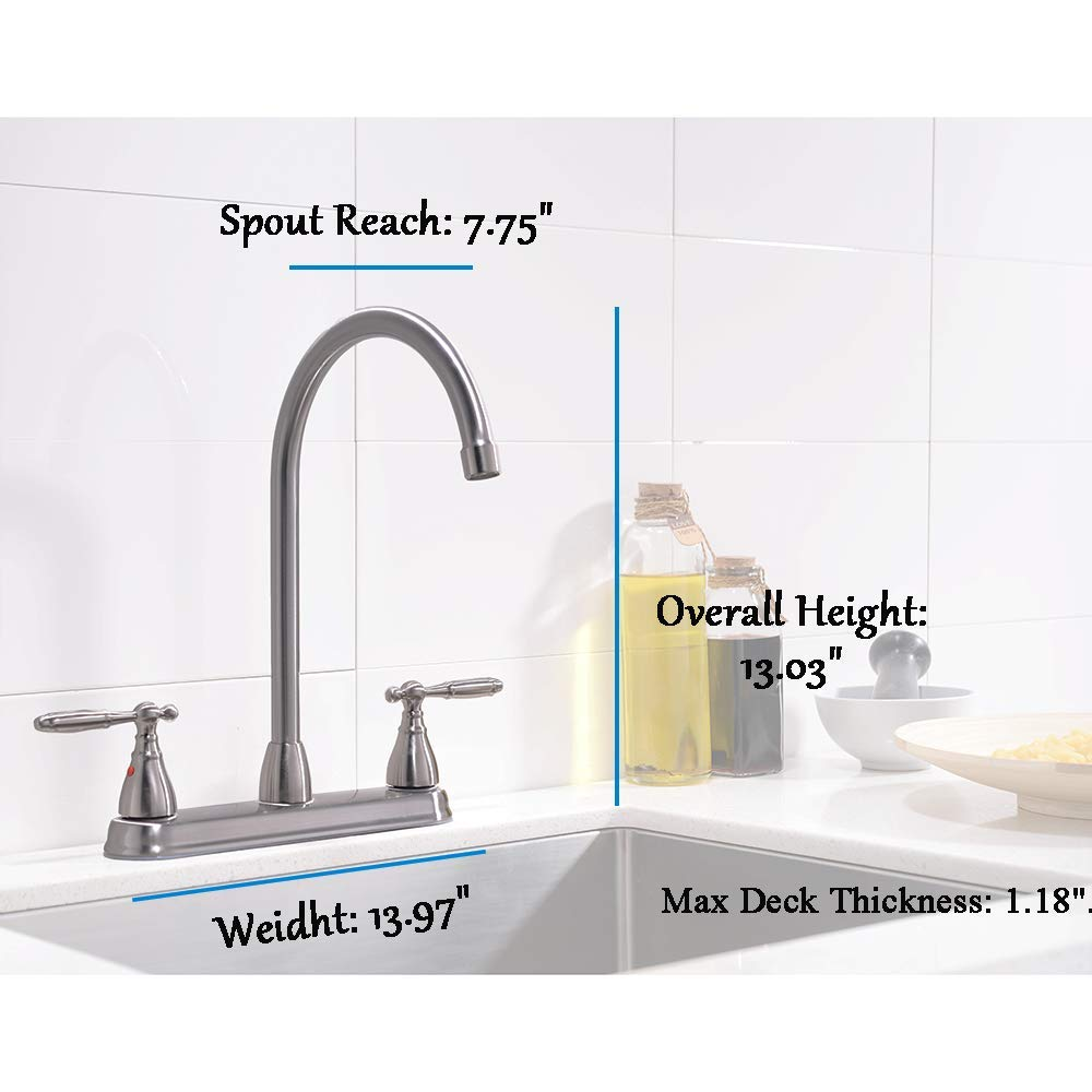VCCUCINE Well Recommended High Arc Goose neck Two Lever Brushed Nickel Finished Kitchen Faucet, Stainless Steel Swivel Spout Kitchen Sink Faucets by VCCUCINE (Image #2)