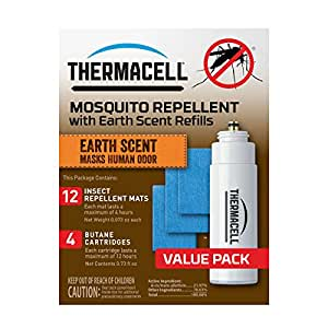 Thermacell E-4 Mosquito Repeller Refill with Earth Scent,48 HourPack (12 Repellent Mats and 4 Butane Cartridges)