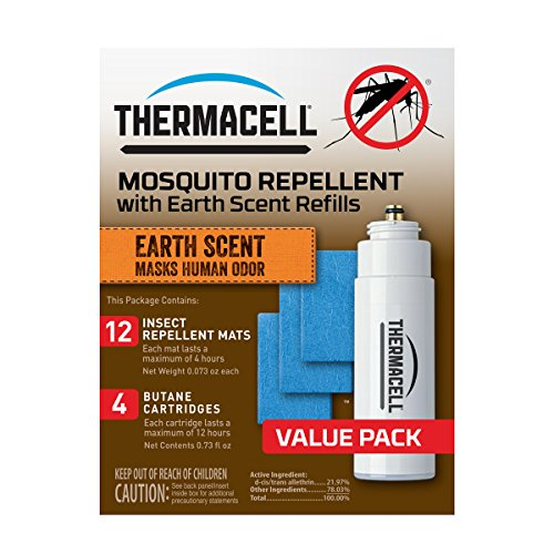 Earth Scent Value Pack - Thermacell E-4 Mosquito Repeller Refill with Earth Scent, 48 Hour Pack (12 Repellent Mats and 4 Fuel Cartridges)