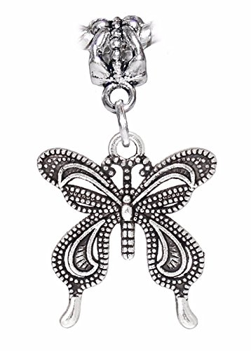 Butterfly Garden Bug Insect Moth Dangle Charm for European Bead Slide Bracelets Crafting Key Chain Bracelet Necklace Jewelry Accessories Pendants