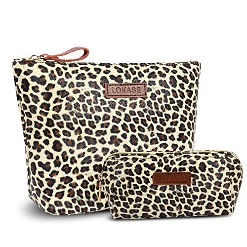 NiceEbag Large Makeup Bag Small Cosmetic Pouch for Purse Handy Makeup Bags Set Cute Travel Toiletry Organizer for Women, Cosmetics, Make Up Tools, Toiletries (2 in 1,Leopard)
