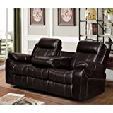 Vivienne Dark Brown Leather Air Reclining Sofa with Tea Table